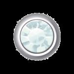 Polished White – Mini Bezel Set – Aquamarine